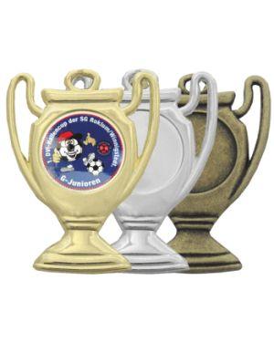 Fußballmedaille in Pokaloptik, gold, silber, bronze
