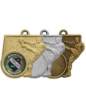 Fußballmedaille oben mit Fußballschuh, gold, silber, bronze